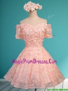Lovely Off the Shoulder Short Sleeves Prom Dress with Appliques and Beading