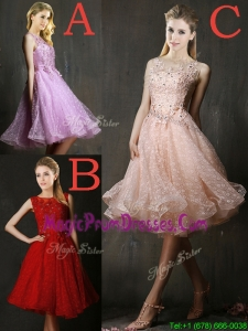 Modern Bateau Beaded and Applique Prom Dress with Polka Dot