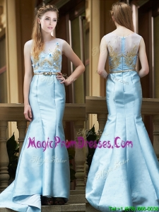 Modest Mermaid Applique Brush Train Prom Dress in Light Blue