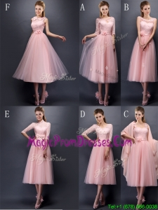 Most Popular Baby Pink Tulle Prom Dress in Tea Length