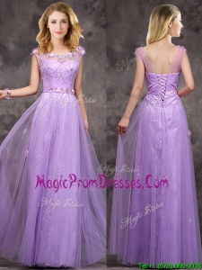 New Arrivals Beaded and Applique Long Prom Dress in Lavender