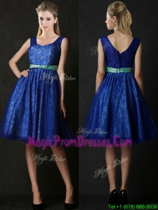 New Arrivals Belted and Laced Blue Prom Dress in Knee Length