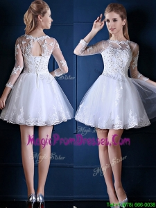 New See Through Scoop Three Fourth Length Sleeves Short Prom Dress in White