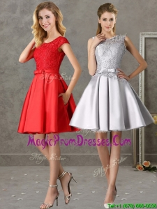 Popular Scoop Cap Sleeves Prom Dress with Bowknot and Lace
