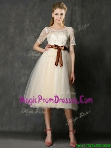 See Through Scoop Short Sleeves Prom Dress with Bowknot and Lace