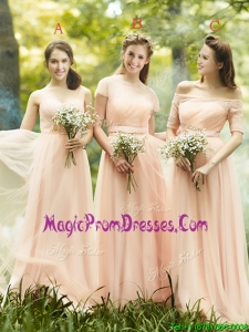 Beautiful Floor Length Tulle Prom Dress in Peach