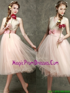 Beautiful Tea Length V Neck Prom Dress with Belt and Bowknot