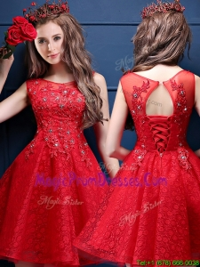 Classical Scoop Red Prom Dress with Appliques and Beading