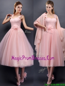 Classical Straps Baby Pink Prom Dress with Appliques and Hand Made Flowers