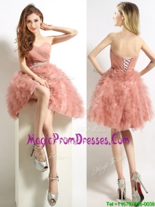 Classical Sweetheart Beaded and Ruffled Short Prom Dress in Peach