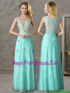 Discount Beaded and Applique V Neck Prom Dress in Apple Green