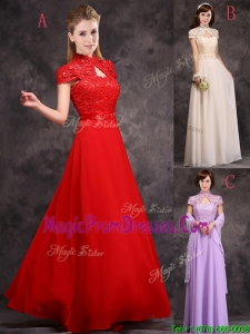 Discount High Neck Applique and Laced Prom Dress with Cap Sleeves