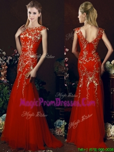 Elegant Mermaid Red Prom Dress with Gold Sequined Appliques