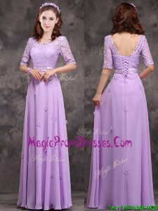 Exclusive Scoop Half Sleeves Lavender Prom Dress with Appliques and Lace