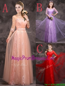 Exclusive See Through Scoop Applique and Laced Prom Dress with Half Sleeves
