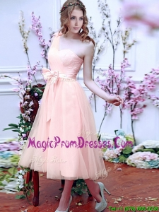 Luxurious One Shoulder Prom Dress with Bowknot and Hand Made Flowers