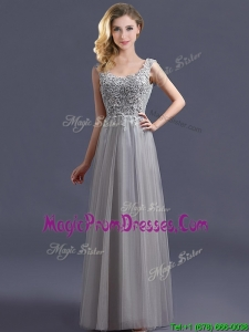 Most Popular Scoop Grey Long Prom Dress with Appliques