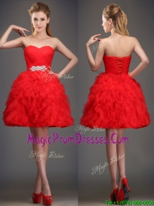 Perfect Really Puffy Red Sexy Prom Dress with Beading and Ruffles
