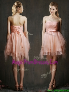 Popular Belted and Ruffled Short Prom Dress in Watermelon Red