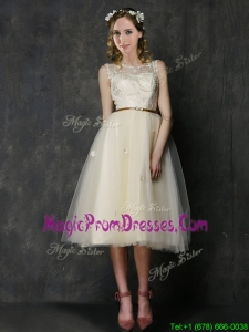 Popular Scoop Champagne Prom Dress with Sashes and Lace
