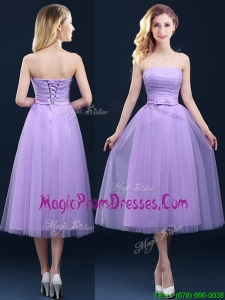 Discount Tea Length Tulle Lavender Prom Dress with Belt
