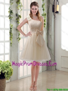 2016 Princess One Shoulder Bowknot Lace 2016 Prom Dress in Champagne