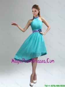 New Fashion High Neck Asymmetrical Turquoise 2016 Prom Dress