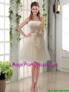 Popular Champagne Strapless Princess Bowknot Prom Dress for 2016