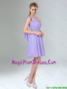 Sassy Beaded and Ruched Short 2016 Prom Dress in Lavender