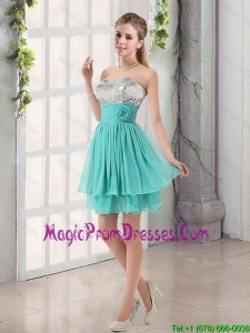 Sweetheart A Line 2016 Prom Dress with Sequins and Handle Made Flowers