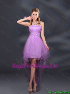 2016 Appliques and Ruffles A Line Strapless Prom Dress