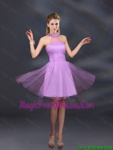 2016 Beautiful Lilac A Line Appliques Prom Dress with Halter
