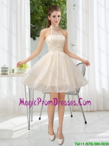 2016 Halter Appliques Lace Up Prom Dress in Champagne