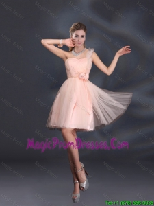 2016 One Shoulder A Line Tulle Prom Dress with Hand Made Flowers