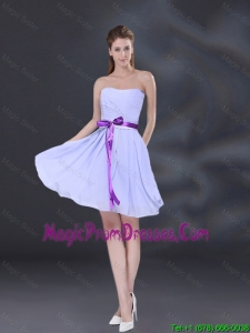 2016 Ruching and Belt Chiffon Prom Dress in Lavender