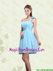 A Line Ruching Chiffon 2016 Prom Dress with One Shoulder