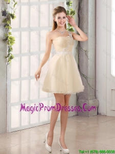 Appliques A Line Mini Length Prom Dress with One Shoulder