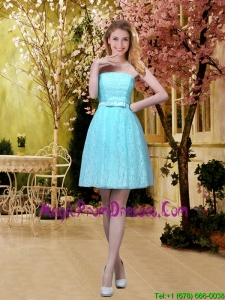 2016 Elegant A Line Laced Prom Dress with Belt in Aqua Blue