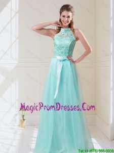 2016 Elegant Empire Halter Top Laced Mint Prom Dress with Sash