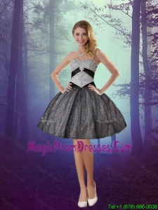 2016 Wonderful Sweetheart Appliques Prom Dresses with Mini Length in Grey