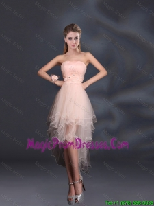 Appliques Strapless Ruffles Organza 2016 Sturning Prom Dress
