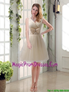 Beautiful Champagne Bowknot Princess Prom Dress with V Neck