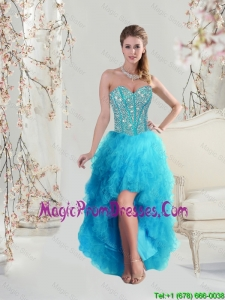 Beautiful Sweetheart Beaded and Ruffles Turquoise Prom Dresses High Low