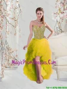 Classical High Low Sweetheart Yellow 2016 Prom Dresses with Beading and Ruffles