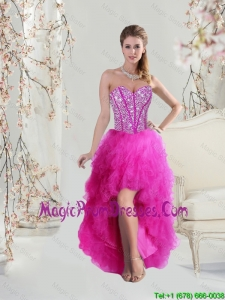 Inexpensive High Low Sweetheart Fuchsia Prom Dresses with Beading and Ruffles