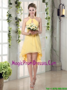 New Fashion Halter Top Asymmetrical Prom Dress