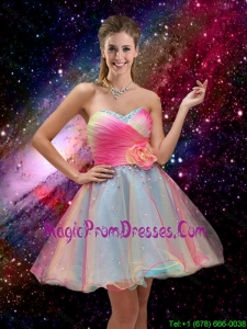 New Style A Line Hand Made Flower and Beaded 2016 Prom Dresses in Multi Color