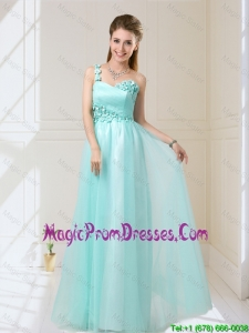 Feminine One Shoulder Floor Length Prom Dress with Appliques