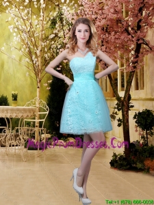 New Style A Line Laced Prom Dress with Appliques in Aqua Blue