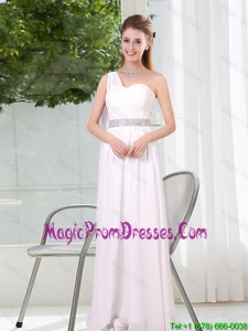 One Shoulder Empire Ruching Sequins White Prom Dress